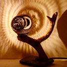 Unique Hand Crafted Lamp Made With Coconut Shell, Elder Wood And Stone