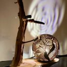 Unique Hand Crafted Lamp Made With Natural Coconut Shell and Wood