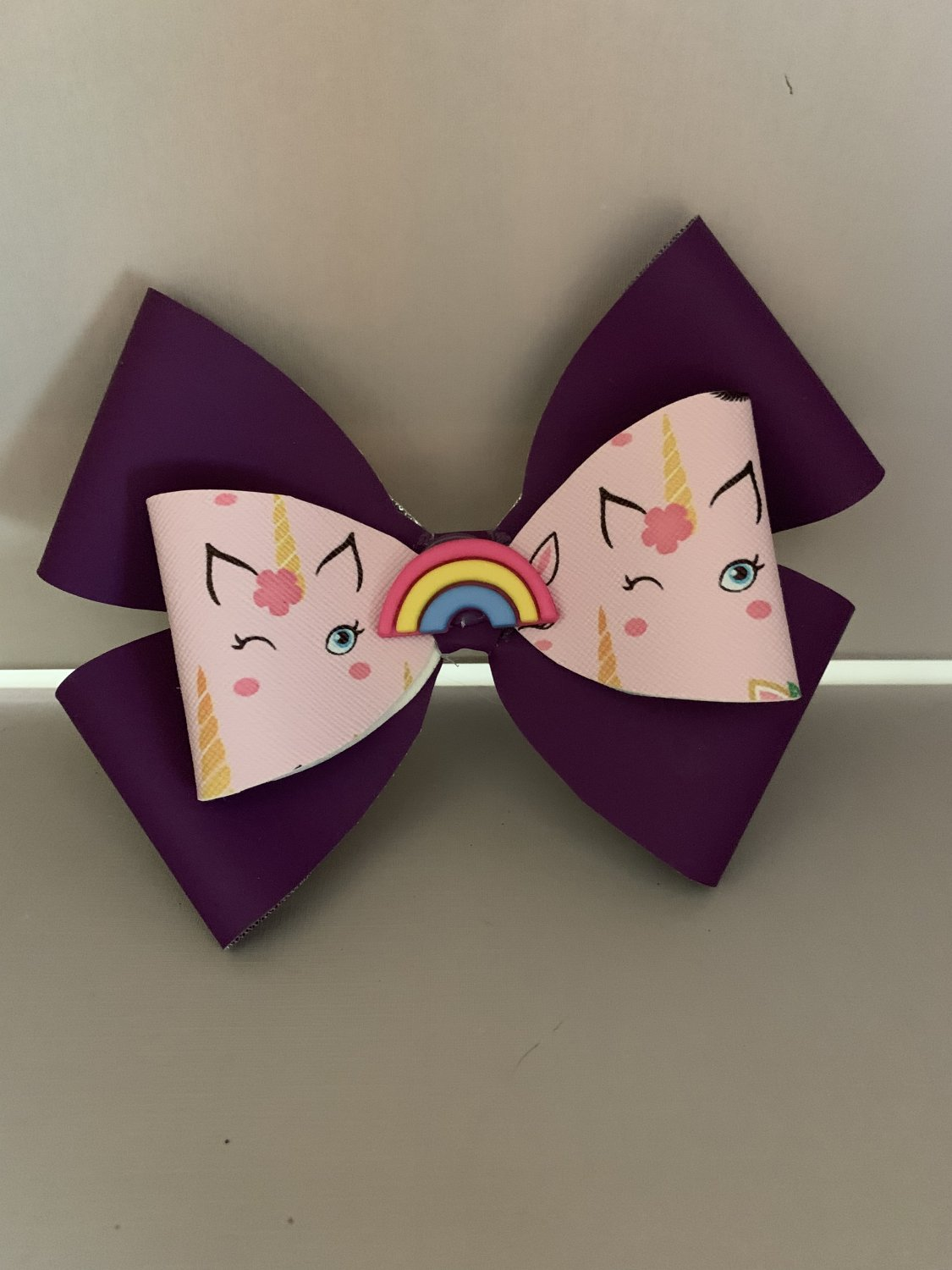Large Purple and Pink Unicorn Hair Bow