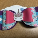 Large Unicorn Print Hair Bow