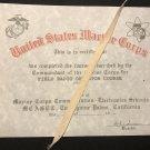 USMC Marine Radio Operator school certificate