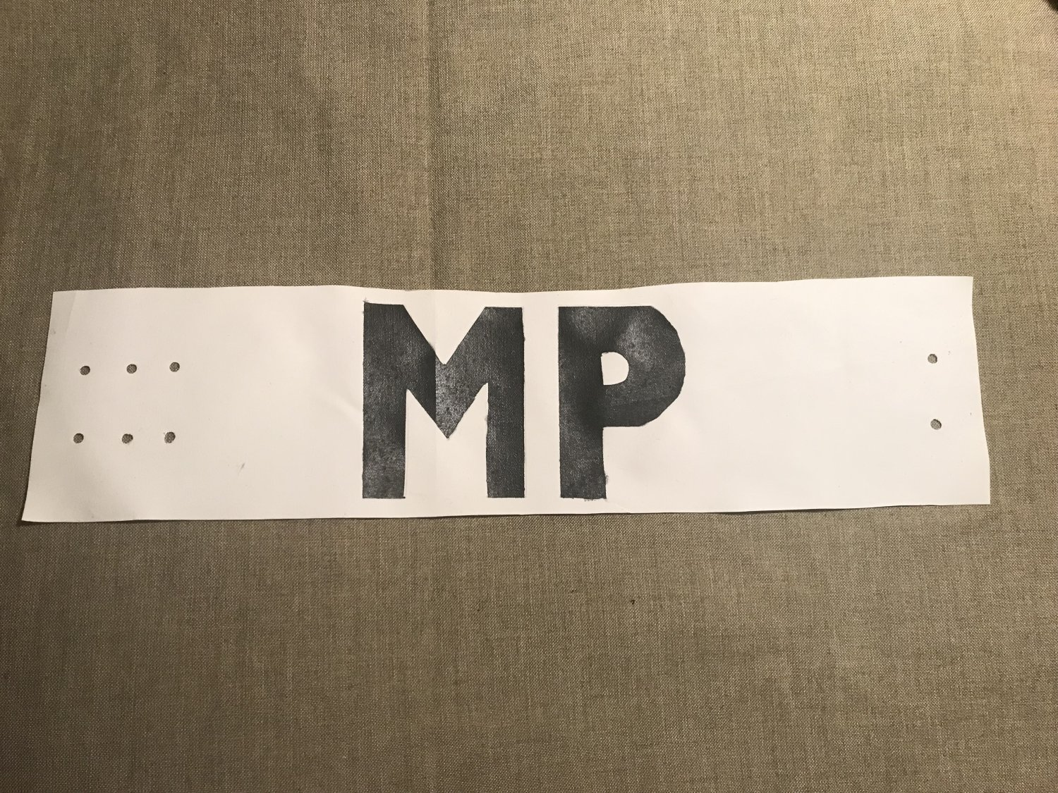 WWII US Army Military Police Armband MP D-Day Invasion