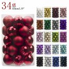 Christmas Ball Ornaments Shatterproof 34Ct For Home Wedding Party Decoration Kit