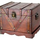 Wooden Box With Lock Old Style Treasure Chest Trunk Storage Antique Cherry Small