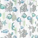 "Deep Sea Fabric Shower Curtain: Ocean Life Fish Theme, Teal   Grey , 70"" X 72"" I"