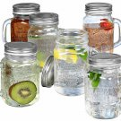 Mason Jar Mugs With Handles Glass And Lids 16 Oz Drinking Glass Set Of 6 Clear