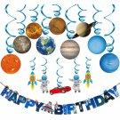 Solar System Hanging Decoration(15),Konsait Universe Space Happy Birthday Banner