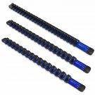 Olsa Tools 3 Pcs Kit Aluminum Sockets Organizer 1/4-Inch Drive X 20 Clips, 3/8-I