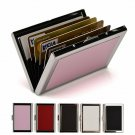 Rfid Cit Card Holder Wallets For Women  Men, Slim Stainless Steel And Pu Leathe
