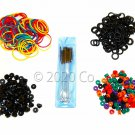 100 Tattoo O-Rings, 100 Rubber Bands, 100 Grommets, 100 Nipples  1 Brush Set