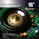Roulette Wheel Game Set With 120 11.5 Gram Chips Full Size Felt Layout 16 Inches