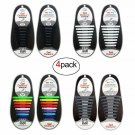 4 Pairs No Tie Shoelaces Black White For Adults Tieless Silicone Rubber Sneaker