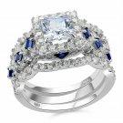 Newshe Engagement Wedding Ring Set 925 Sterling Silver 3Pcs 2.5Ct Princess  Cz
