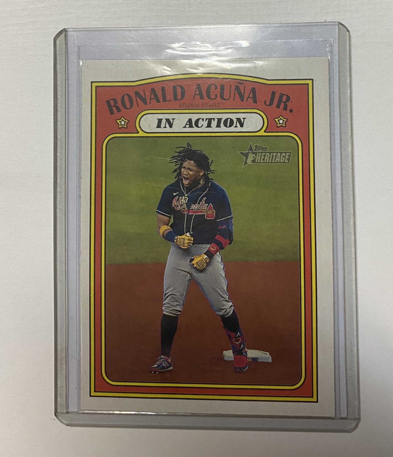 2021 Topps Heritage Ronald Acuna Jr. #300 In Action