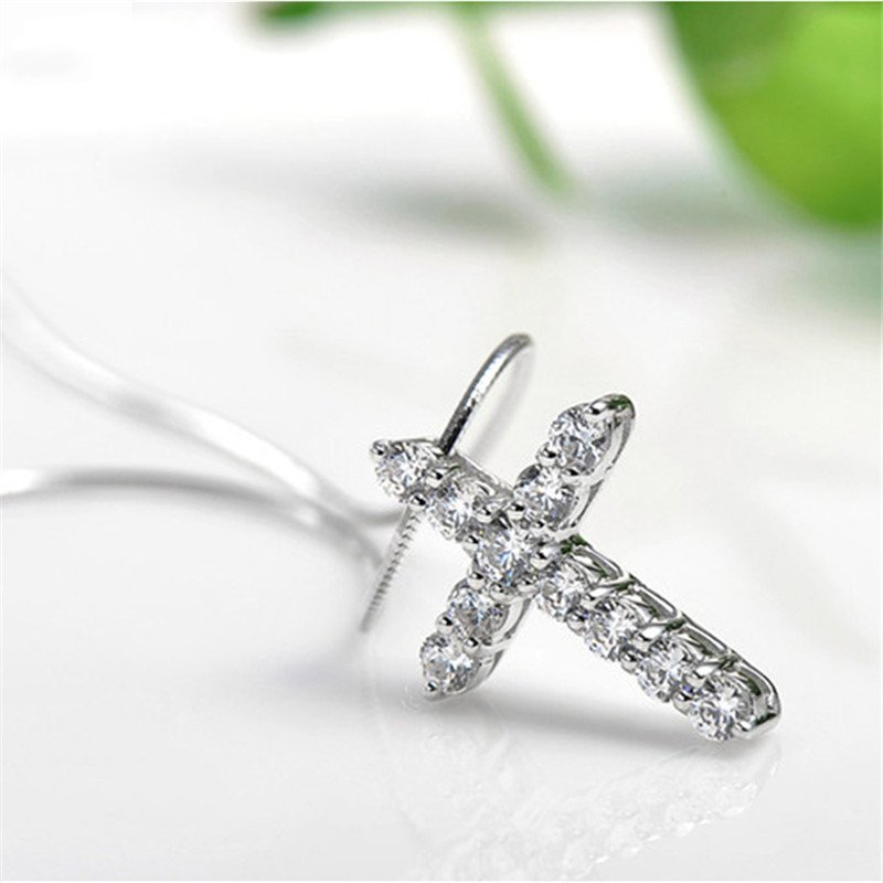 New Latin Cross Charm Necklace with Clear Zircon Elements Crystals Pendant Women's Round Sterling