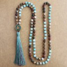 Matte Natural Stone 108 Beads Necklaces For Women Female Payer Regious Nepal Pendant Long Mala
