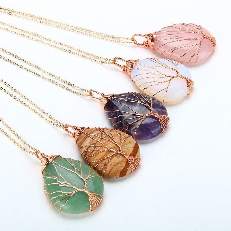 Natural purple Quartz Opal Stone Pendants Handmade Rose Gold Color Tree of Life Wrapped Drop Shaped