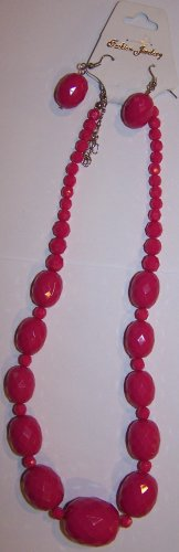Hot Pink Textured Necklace
