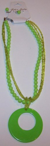 Bright Green Hoop Necklace
