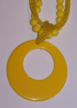 Bright Yellow Hoop Necklace