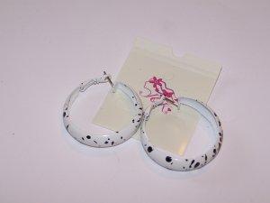 White Hoop Earrings With Black Spots