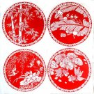 New Scenery sheet of pure handmade paper-cut window with blue and white porcelain Red