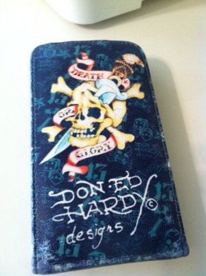 Soft Flip Leather Case Cover for Apple iPhone 3G 3GS Blue with Skull