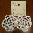Crystal Studded Flower Earrings - White NEW