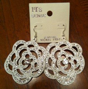 Crystal Studded Flower Earrings - White NEW
