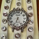 Crystal Studded Wrap Watch - White NEW