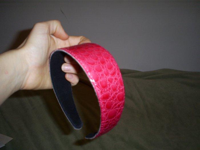 Pink Leather Headband