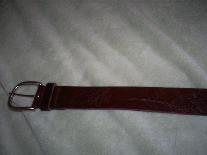 Flower engraved leather belt