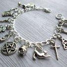 Pagan Charm Bracelet, Wiccan Charm Bracelet, Wicca charm bracelet, Priestess Bracelet