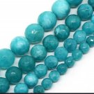 4mm Faceted Round Blue Jade Beads