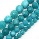 """8mm Faceted Blue Jade Beads 15.5"""" Strand 44ct"""