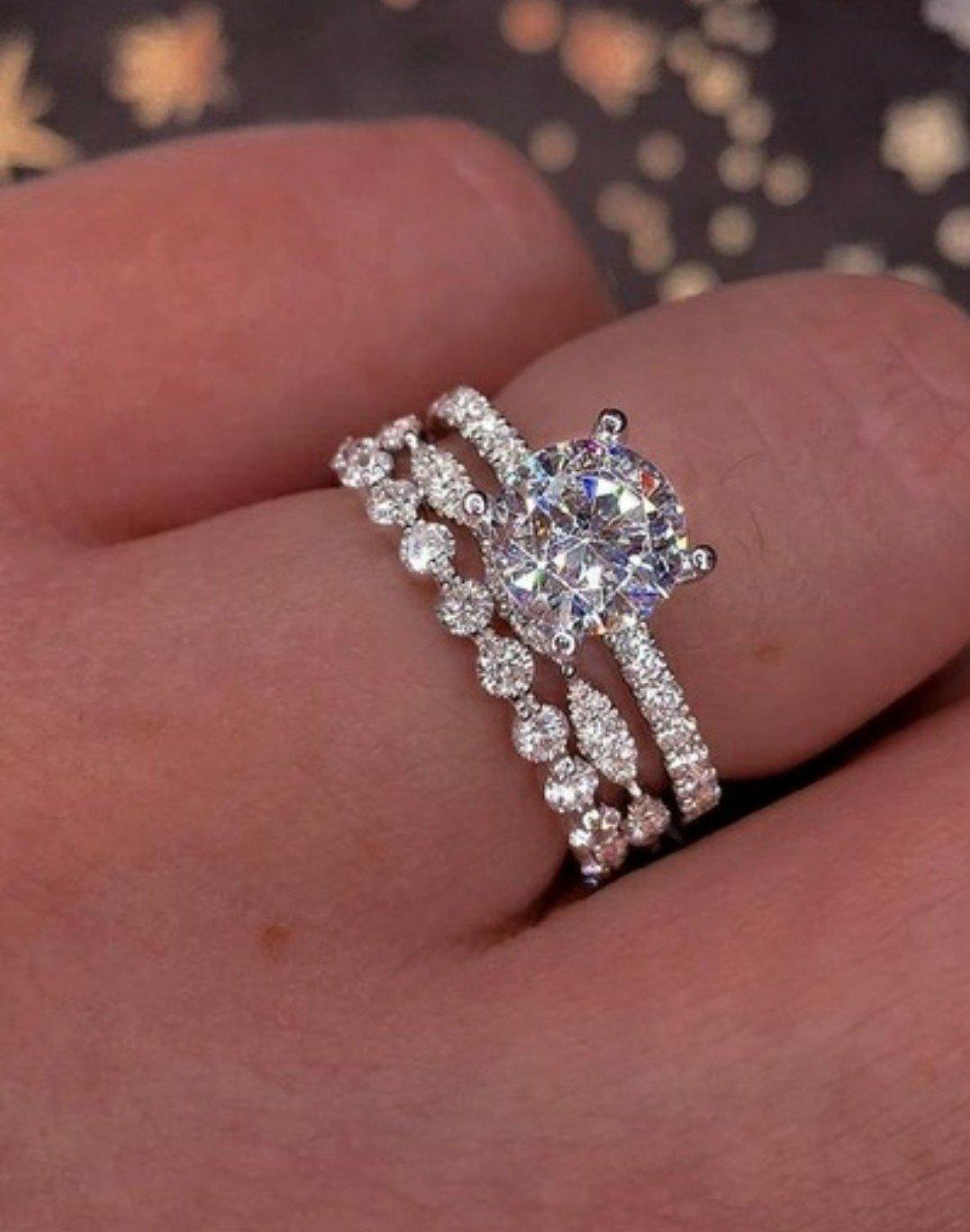 3pc CZ Wedding Set Promise, Engagement & Band Size 6