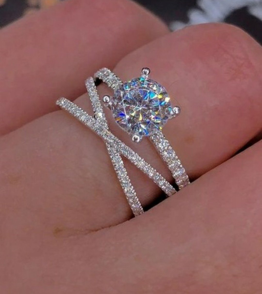 Sterling Silver Plate Engagement Ring Size 9