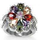 Multi-Color CZ Sterling Silver Plate Ring Size 6