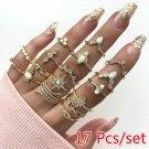 17pc Set Fashion Rings Gold Plate 1 Size