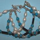 "Pearl Turquoise Blue Stone Bracelet    8 1/2""  Tibetan Silver"