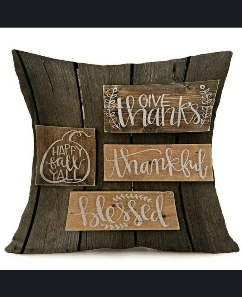 """18""""X18"""" Fall Linen Pillow Case """"Give Thanks, Thankful, Blessed, Happy Fall..."""
