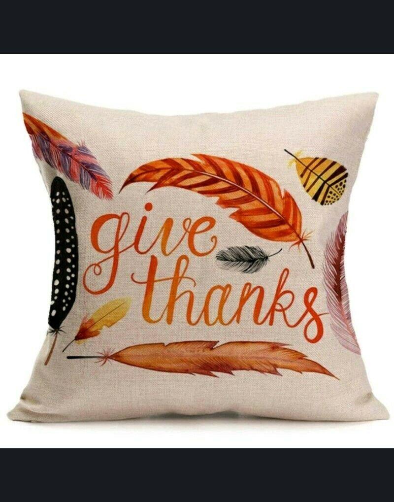 "1 Fall Linen Pillow Case. 18""X18""  ""Give Thanks"""