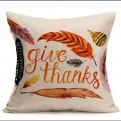 "1 Fall Linen Pillow Case. 18""X18""  ""Give Thanks"""