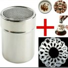 Stainless Steel Shaker with 16pc Coffee, Latte,  Cappuccino Barista Stencil Set