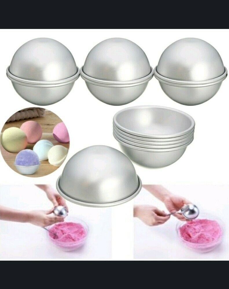 3pc Set Round Aluminium Bath Bomb Molds with Recipe & Directions to Make