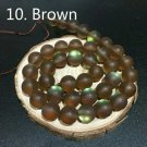 """8mm Brown Dull Frosted Crystal Round Beads 46/15"""" Strand"""