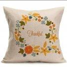 """18""""X18"""" Fall Flowers Wreath Linen Pillow Case """"Thankful"""""""