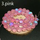 "8mm Pink Dull Frosted Crystal Beads. 46/15"" Strand"