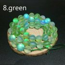 "8mm Green Dull Frosted Round Crystal Beads. 46/15""  Strand"