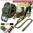 "Large Camo-Green 1000D K-9 Military Tactical Dog Collar 18.5""-21""& Leash 36""-53"""